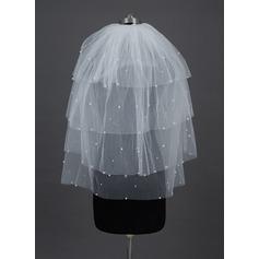 Four-tier Fingertip Bridal Veils With Cut Edge