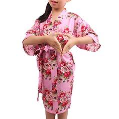 Blomma Tjej Blomsterrockar Tjejrockar Kimono kläder med - Knälång