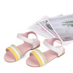 Ragazze Punta aperta sandalo Pelle vera Heel piatto Sandalo Ballerine con Velcro