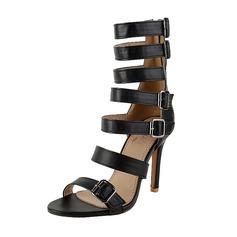 Donna Similpelle PU Tacco a spillo Sandalo Stiletto con Fibbia Cava-out scarpe