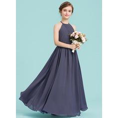 A-Line/Princess Scoop Neck Floor-Length Chiffon Junior Bridesmaid Dress With Ruffle (009149006)
