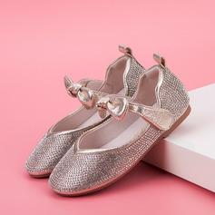 Jentas Lukket Tå Leather flat Heel Flate sko Flower Girl Shoes med Bowknot Crystal