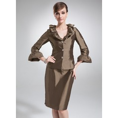 Sheath/Column V-neck Knee-Length Taffeta Mother of the Bride Dress With Beading
