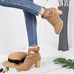 Women's Suede Chunky Heel Pumps Boots Ankle Boots With Zipper shoes (088145814)