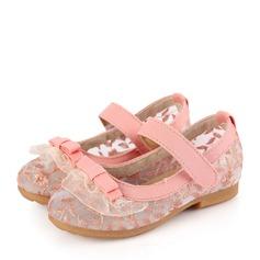 Fille de Dentelle talon plat bout rond Chaussures plates avec Bowknot Couture dentelle Velcro