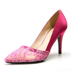 Women's Satin Stiletto Heel Pumps Closed Toe With Flower shoes