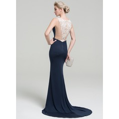 Trumpet/Mermaid V-neck Sweep Train Jersey Evening Dress With Lace Split Front (017093446)