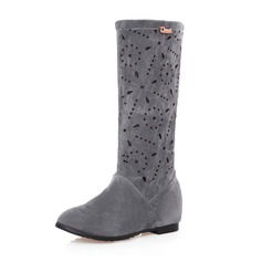 Women's Suede Low Heel Closed Toe Boots Knee High Boots Mid-Calf Boots With Others shoes