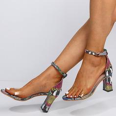 Frauen Kunstleder PVC Stämmiger Absatz Sandalen mit Schnalle Schuhe