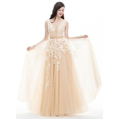 A-Line/Princess V-neck Floor-Length Tulle Evening Dress With Beading Sequins (017113539)