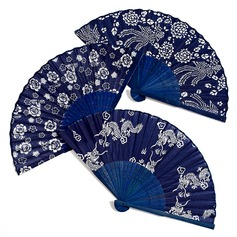 Floral Design Bamboo/Silk Hand fan (Set of 4) (051040144)