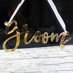 Bride & Groom/Charmant Jeune mariée et Marié/Style Vintage Acrylique (Lot de 2)