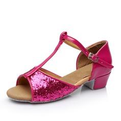 Femmes Similicuir Pailletes scintillantes Sandales Latin avec Lanière en T Boucle Ouvertes Chaussures de danse