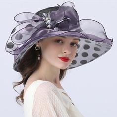 Damene ' Hotteste/Romantisk Organza med Imitert Perle Strand / Sol Hatter/Tea Party Hats