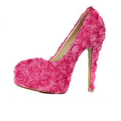 Women's Cloth Stiletto Heel Closed Toe Platform Pumps With Flower