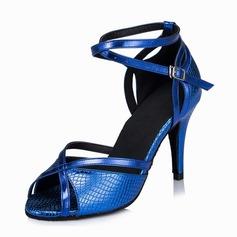 Mulheres Couro Saltos Sandálias Latino com Correia de Calcanhar Sapatos de dança