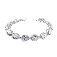 Elegant Zircon/Platinum Plated Ladies' Bracelets