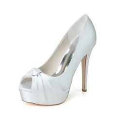 Kvinder Satin Stiletto Hæl Kigge Tå sandaler