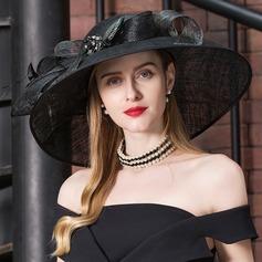 Señoras' Glamorosa Batista con Pluma/Rhinestone Disquete Sombrero/Derby Kentucky Sombreros