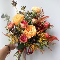 Hübsche Mid Hand Gebunden Simulation PU Materialien/Seide Blumen Brautsträuße -