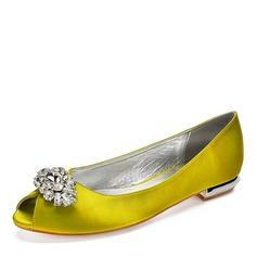 Women's Silk Like Satin Flat Heel Peep Toe With Rhinestone