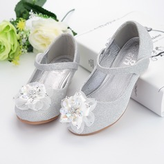Girl's Leatherette Flat Heel Round Toe Flats With Rhinestone Velcro Flower