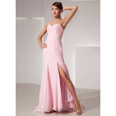 Trumpet/Mermaid Sweetheart Sweep Train Chiffon Evening Dress With Split Front