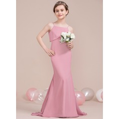 Trumpet/Mermaid Square Neckline Sweep Train Chiffon Junior Bridesmaid Dress With Cascading Ruffles (009106855)
