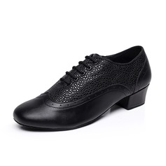 Men's Real Leather Heels Pumps Latin Ballroom Swing Practice Character Shoes Dance Shoes (053085569)