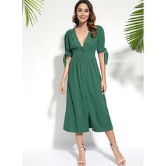 A-line V-Neck Cotton Polyester Dresses (293237651)