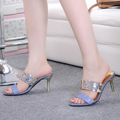 Women's Sparkling Glitter Stiletto Heel Sandals Pumps Slingbacks With Sequin shoes