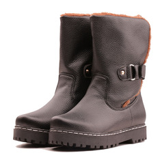 Women's PU Flat Heel Flats Platform Boots Mid-Calf Boots Snow Boots With Buckle shoes