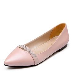 De mujer Cuero Tacón plano Planos con Rhinestone zapatos
