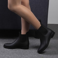 Kvinner PVC Lav Hæl Støvler Mid Leggen Støvler Gummistøvler med Elastisk bånd sko