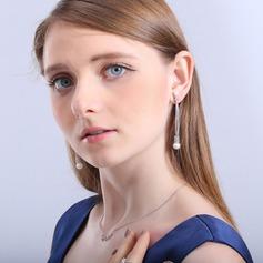 Élégante Cuivre/Zircon de/Argent 925/De faux pearl Dames Boucles d'oreilles
