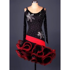 Women's Dancewear Spandex Organza Latin Dance Leotards (115086058)