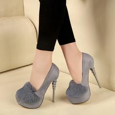 Women's Leatherette Stiletto Heel Pumps Platform With Fur Jewelry Heel shoes