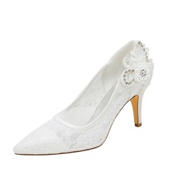 Women's Silk Like Satin Stiletto Heel Pumps With Stitching Lace Crystal