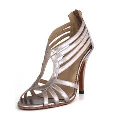 Mulheres Couro Saltos Sandálias Latino Sapatos de dança