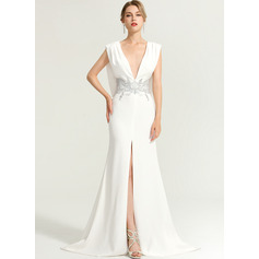 Trumpet/Mermaid V-neck Sweep Train Stretch Crepe Evening Dress With Beading Split Front (017167704)