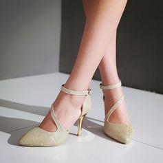 Vrouwen Sprankelende Glitter Stiletto Heel Pumps Closed Toe met Sprankelende Glitter schoenen