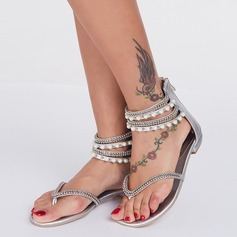 Women's Leatherette Flat Heel Sandals With Imitation Pearl Zipper Tassel shoes (087114589)