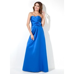 Empire Sweetheart Floor-Length Satin Bridesmaid Dress With Ruffle Bow(s)