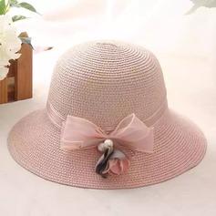 женские восхитительно Ротанг Стро с Перлы ложный/бантом соломенная шляпа