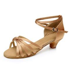 Niños Satén Tacones Sandalias Danza latina con Tira de tobillo Zapatos de danza