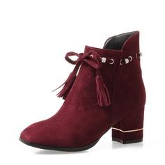 Naisten Mokkanahka Chunky heel Avokkaat Kengät Nilkkurit jossa Tupsu kengät