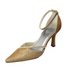 Vrouwen Sprankelende Glitter Stiletto Heel Closed Toe Pumps met Gesp