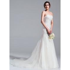Trompete/Sereia Coração Cauda longa Tule Vestido de noiva com Pregueado Apliques de Renda