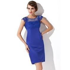 Etui-Linie U-Ausschnitt Kurz/Mini Satin Kleid für die Brautmutter mit Spitze