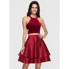 A-Line/Princess Scoop Neck Short/Mini Satin Homecoming Dress With Cascading Ruffles (022164886)